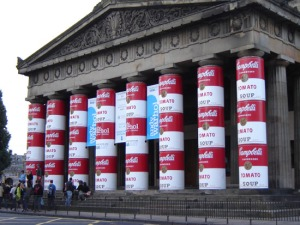 Ingenious covering of the pillars of the National Gallery of Scotland for its Andy Warhol exhibition