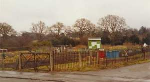 Allotment site entrance before the houses were built on Church Road